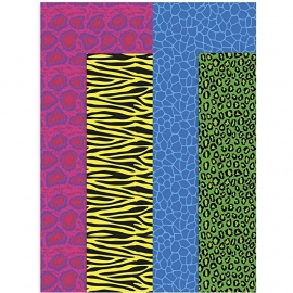 CW-Decoupage papier, vel 25x35 cm, gekleurde dieren print, 8 assorti vel