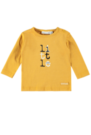 Bampidano-Baby Boys NB longsleeve Brandon plain/yd stripe FREE HUGS-Ochre Yellow