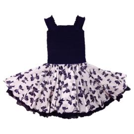 Girls Smock dress sleeves-LoFff-Dark blue+white