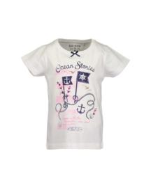 Kids Girls knitted T-Shirt-Blue Seven-White