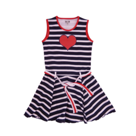 Girls Dress Marbella- LoFff- Blue stripes and red