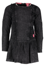 Girls tencel dress with ruffles, blind zipper on the back- B.Nosy-Black-Dragon Denim