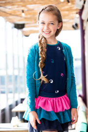 B.Nosy-Girls ss shirt with ful embroidered front-Space Blue