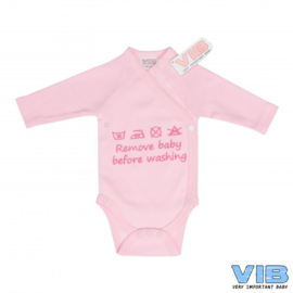 Romper Remove baby before washing-VIB-Roze