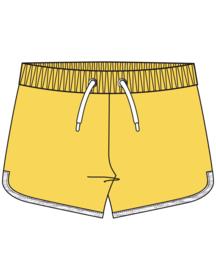 Blue Seven-Kids Girls knitted sweat shorts-FUN PANDA-YELLOW