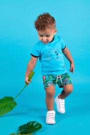 Baby boys shirt with  map embroidery-B.Nosy-Maya blue