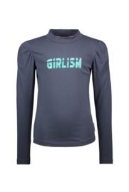 Girls Kids shirt with coll, embro on chest and puffed sleeves-B.Nosy-Oxford blue