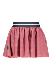 Girls Kids pied de poule skirt with fancy elastic-B.Nosy-PdP. Coral red