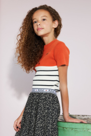 Nobell-Girls Teens-Kian knitted top with small turtle neck -Cantaloupe