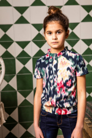 B.Nosy-Girls woven blouse with youth flower AOP-youth flower ao-Multi Color