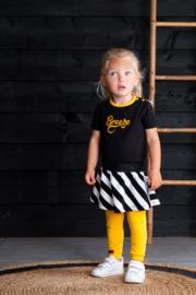 B.Nosy- Baby girls dress with stripe skirt part, plain top-Black