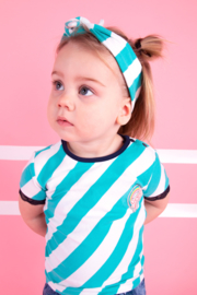 Baby girls short sleeve shirt with slanted YDS and mesh at detail-B.Nosy-Ceramic stripe
