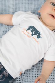 Baby Boys T-shirt s/s V-neck plain PARTY ANIMALS / WILD ONE-Bampidano-White