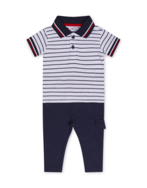 Dirkje-Baby Boys  2 pce babysuit trousers -Navy + white + stripe