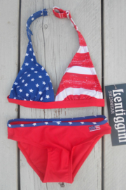 Girls Bikini stars en stripes- lentiginni- rood