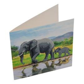 Craft Buddy- Card Kit-Diamond Painting Elephans (partial)- Multi Color