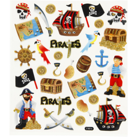 Fancy Glitter Stickers, Piraten, 15x16,5 cm-C.W.-Multi Color