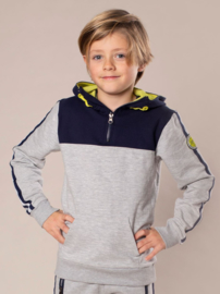 DJ Dutch Jeans-Boys Sweater ls with hood and zipper-Grey melee + navy