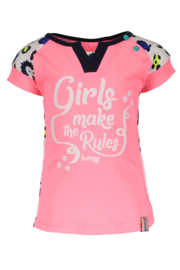 Baby girls shirt with contrast print sleeves-B.Nosy-AO sprinkle