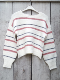 Blue Seven-Girls knitted pullover-Off white