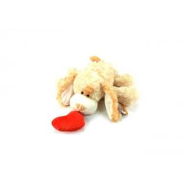 C.W.-Unisex Pluche Hond met hart +/- 30cm-Light brown