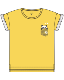 Kids Girls knitted T-Shirt- FUN PANDA-Blue Seven-YELLOW