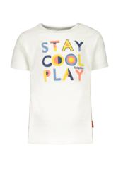 Bampidano-Baby Boys short sleeve T-shirt Dex plain with print PLAY-White
