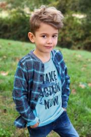 Blue Seven-Kids Boys woven shirt-Night Blue check orig