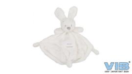 Unisex Pluche Knuffeldoekje met Konijnenhoofd -VIB-White-Grey