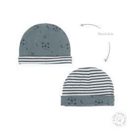 Dirkje-Baby Boys hat reversible Bio Cotton-Dusty green + off white