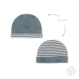 Dirkje-Baby Boys hat reversible Bio Cotton-Dusty green + off white
