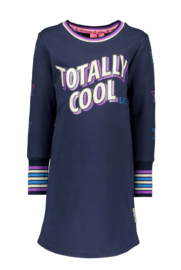B.Nosy-Girls Kids dress with embroidered star on sleeves, rib at cuff -Ink blue