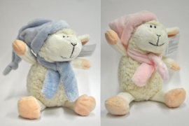 Knuffel Lam- blue en rose