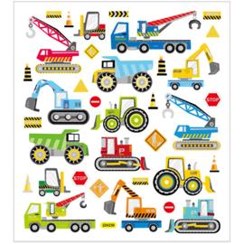 Stickers, vel 15x16,5 cm, circa 40 stuk, bouwplaats, 1vel-C.W.-Multi Color