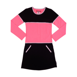 Girls Dress Aicha - LoveStation22- neon pink & black