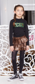 Girls Kids fake panther leather plissé skirt-B.Nosy-Leopard leather