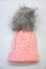 Girls Pink Striped Cable hat-LPC- rose