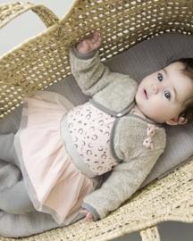 Baby Girls 3 pce babysuit dress- Dirkje- Light Pink/Light Grey