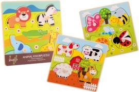 Joueco Houten dieren knopjespuzzel-C-Diverse kleuren