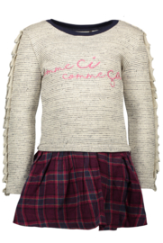 Girls Kids multi dress sweat top + woven check skirt -Bampidano-Pink Check
