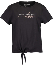 Blue Seven-Girls knitted T-shirt-Black orig