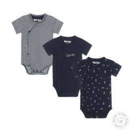Dirkje-Baby Boys 3 pce body set ss Bio Cotton-Navy + off white