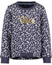 Blue Seven-Kids Girls knitted sweatshirt-Anthracite aop orig