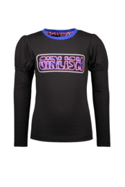 B.Nosy-Girls Kids t-shirt with puffed sleeves and chest artwork -Black