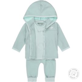 Dirkje-Baby Unisex  3 pce babysuit Bio Cotton-Aqua green + off white