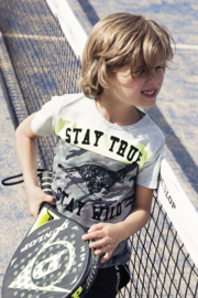 Boys T-shirt-DJ Dutch Jeans-Grey melee + neon yellow + army green
