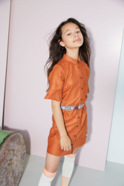Nobell-Girls Teens-Masa Blouse dress in fake suede 1/2 flared sl -Ginger