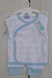 2-Delige Setje all over print kroontje-VIB-white-Blue