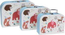 Kinderkoffer dierenprint- 3 verschillende maten- 30/25/20 cm