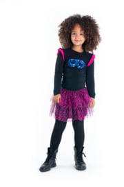 Girls t-shirt with 2-color ruffle around armhole  -B.Nosy-Black